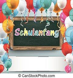 Blackboard Balloons Schulanfang