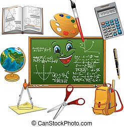 Blackboard cartoon character with school supplies
