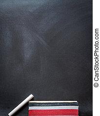 Blackboard chalk and eraser