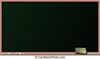 Blackboard, chalk and sponge - isolated vector illustration...