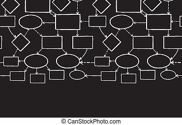 Blackboard chalk mind map horizontal seamless pattern background border