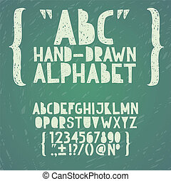 Blackboard chalkboard Chalk hand draw doodle abc, alphabet grunge scratch type font vector illustration