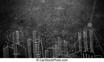 Blackboard city drawing video