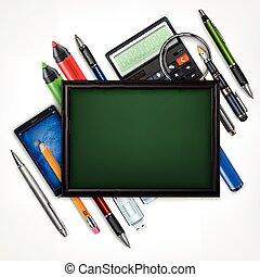 blackboard, concept., utbildning