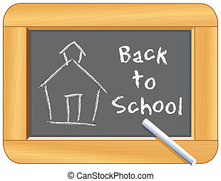 Blackboard with wood frame, child's chalk drawing of schoolhouse, back to school text, for education, literacy projects, scrapbooks. EPS8 in groups for easy editing.