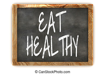 A Colourful 3d Rendered Illustration of a Blackboard Showing Eat Healthy