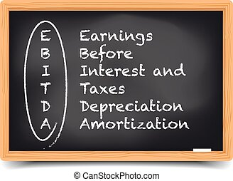 detailed illustration of a blackboard with EBITDA term explanation, eps10 vector, gradient mesh included
