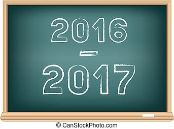 The blackboard 2016-2017 isolated on white background. Education school time.