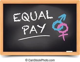 Blackboard Equal Pay - detailed illustration of a blackboard...