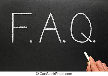 blackboard., faq, écrit, abréviation, questions, frequently,...