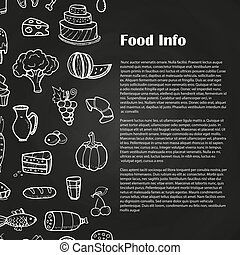 Blackboard food poster with hand drawn