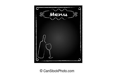 Blackboard for restaurant menu with bottle and glass