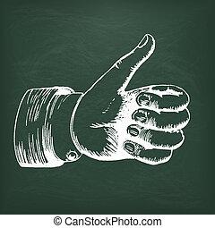 Blackboard Hand Thumbs Up