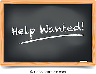 Blackboard Help Wanted - detailed illustration of a...