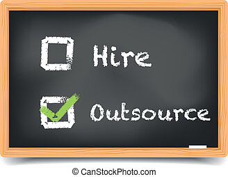 detailed illustration of different checkboxes with hire and outsource options on a blackboard, eps10 vector, gradient mesh included