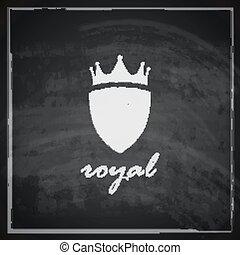 blackboard, illustration, skydda, bakgrund., årgång, krona