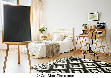 Blackboard in bedroom