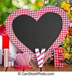Blackboard in heart shape