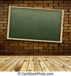 Blackboard in interior - Empty school blackboard at brick...