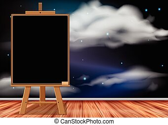 Blackboard in the room with space wallpaper