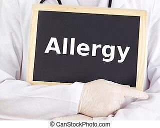 blackboard:, información, alergia, exposiciones, doctor