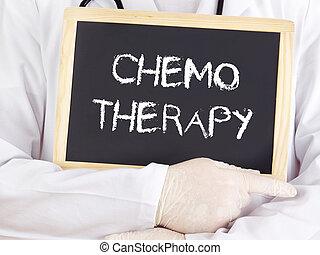 blackboard:, información, exposiciones, quimioterapia,...