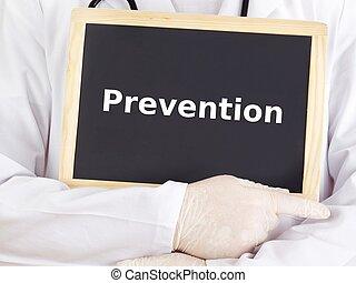 blackboard:, información, exposiciones, prevención, doctor