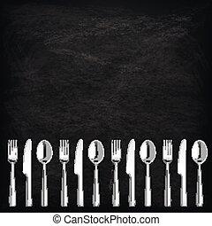 Blackboard Knifes Forks Spoons