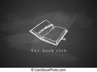 blackboard., książka, stary, otworzony