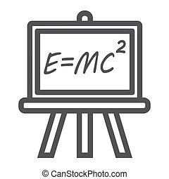 Blackboard line icon, chalkboard and school