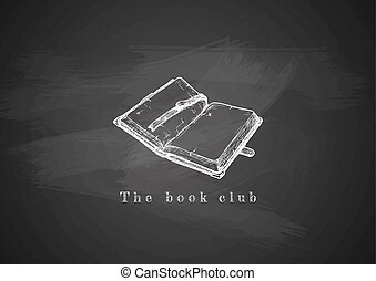 blackboard., livre, vieux, ouvert