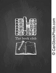 blackboard., livres, vieux