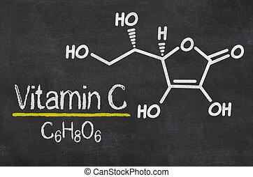 blackboard, med, den, kemisk, formel, av, vitamin c