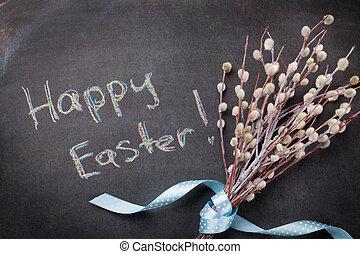 blackboard, med, glad påsk, text