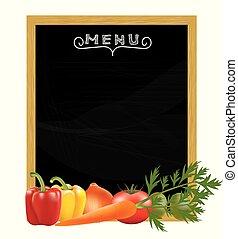 Blackboard menu with vegetables