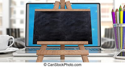 Blackboard on easel against office background, 3d illustration.
