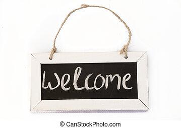 blackboard on rope welcome