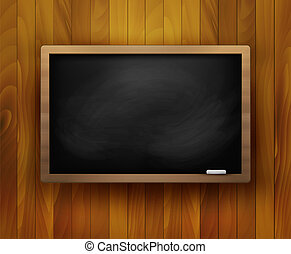 Blackboard on wooden background. Vector illustration.