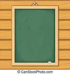 Blackboard on wooden wall, vector eps10 illustration