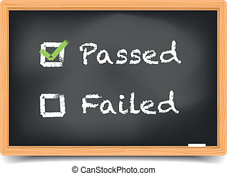 Blackboard Passed Failed - detailed illustration of...