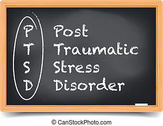 Blackboard PTSD - detailed illustration of a PTSD term...