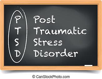 Blackboard PTSD - detailed illustration of a PTSD term...