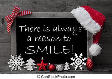 Blackboard Santa Hat Christmas Decoration Quote Reason Smile