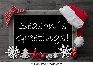 Blackboard Santa Hat Christmas Decoration Seasons Greetings...