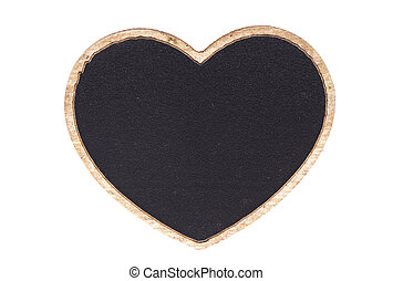 Blackboard shape heart empty blank isolated on white with work path