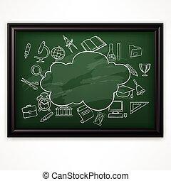 blackboard, skola, vektor, grön, illustration