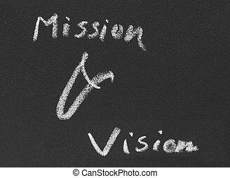 blackboard, skriftligt, mission, vision, &
