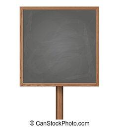 Blackboard standing on wooden post
