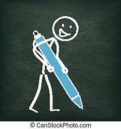 Blackboard Stickman Ballpen - Blackboard with stickman and...