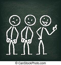 Blackboard Stickman Cheerfulness - Blackboard with 3...